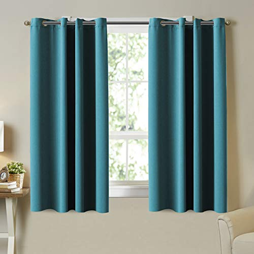 Teal Blackout Curtains Grommet Thermal Insulated Room Darkening Bedroom Curtain Panel 63 Inch Length Teal Drapes (2 Panels) for Nursery Room Curtain, Set of 2 Panels, 52 x 63 Inches Each Panel, Teal