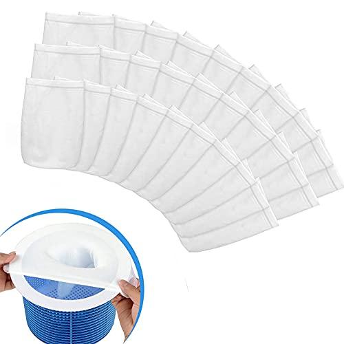 Ambolio Pool Skimmer Socks,Schwimmbad Skimmer socken,Skimmer Filter Netz,Filter Skimmer Pool, für Schwimmbad Korb, für Pool-Reinigungs, Teichreinigung,30 Stücke.