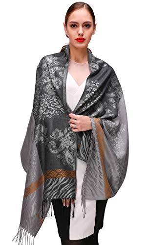 Shmily Girl Damen Schultertuch Stola - Eleganter Pashmina Schal mit floralem Muster in vielen Farben (One Size, Grau-c063)