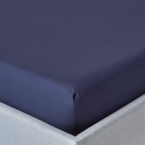 HOMESCAPES Drap-Housse Bleu Marine 100% Coton Égyptien 200 Fils 120 x 190 cm