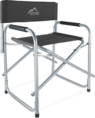 normani Regiestuhl Campingstuhl faltbar bis 150 Kg, Stahl mit gepolsterten Armlehnen Farbe Black