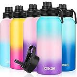 ZONZHI Botella Termica 1L- Botellas de Acero Inoxidable, Sin BPA Botella Agua Deporte, Pajilla & Cepillo de Limpieza Gratuito, Termo Reutilizable- para Niños, Escuela, Hogar, Yoga, Gimnasio, 2Tapas