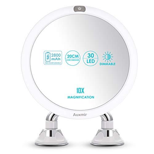 Auxmir Kosmetikspiegel Beleuchtet mit LED Licht, 10X Vergrößerung und 2 Starken Saugnäpfen, Wiederaufladbar, Schminkspiegel für Badzimmer, Kosmetikstudio, Spa und Hotel