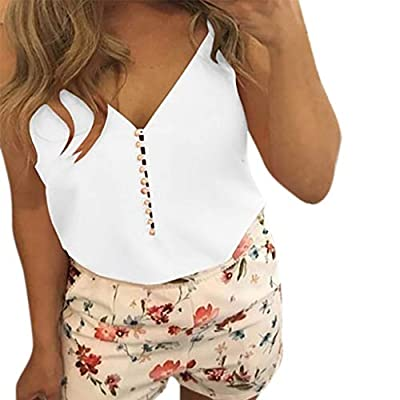RAINED-Women Button Down Tank Tops V Neck Strappy Tanks Loose Casual Sleeveless Shirts Loose Fit Solid Tanks for Summer