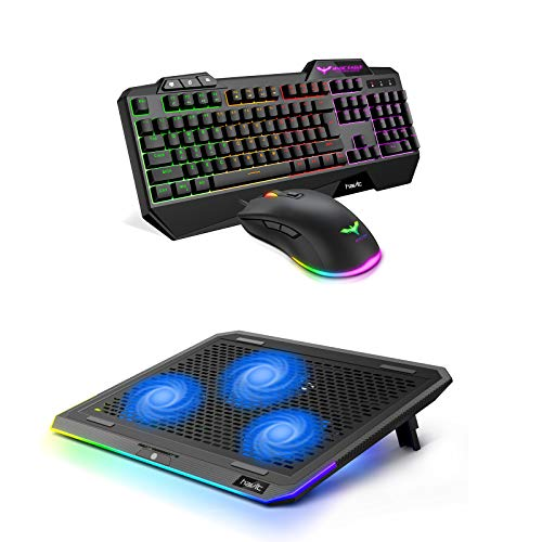 Havit Keyboard Rainbow Backlit Wired Gaming Keyboard Mouse Combo and RGB Laptop Cooling Pad