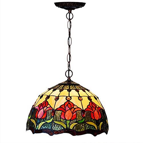 Lámparas colgantes estilo Tiffany, lámpara colgante de vidrio retro para cocina, lámpara de araña de altura ajustable con patrón de tulipán artesanal para dormitorio, lámpara de sala de estar (30 cm)