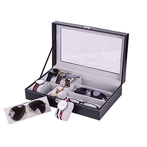 GFF - Portagioie in pelle con serratura per 6 orologi e 3 occhiali da sole, impermeabile Nero
