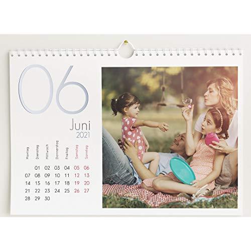 Fotokalender 2021 mit Relieflack, Kalenderjahr, Wandkalender mit persönlichen Bildern, Kalender für Digitale Fotos, Spiralbindung, DIN A4 Querformat