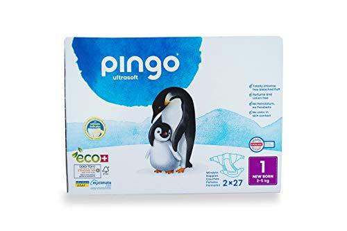 Couches écologiques Pingo taille 1 New Born (2-5 kg), boîte de 2 x 27