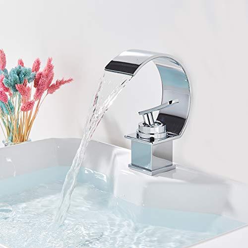 Onyzpily Waschtischarmatur Wasserhahn Bad Armatur Mischbatterie Einhebelmischer Badarmatur Hochdruck Waschbecken for Badezimmer Chrom