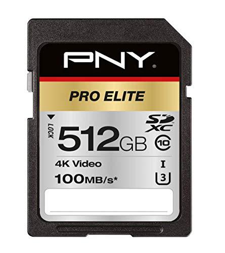 PNY Pro Elite SDXC Card 512GB Class 10 UHS-I U3 100MB/s