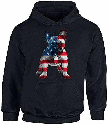 Awkward Styles Unisex USA Flag French Bulldog Cute Hoodie Hooded Sweatshirt 4th of July Party Pet Lover Black XL