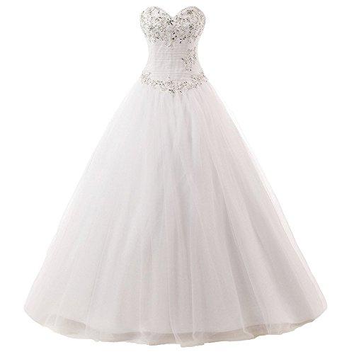 JAEDEN Brautkleid Damen Hochzeitskleider Lang Prinzessin Brautmode Tüll Herzausschnitt Elfenbein EUR58