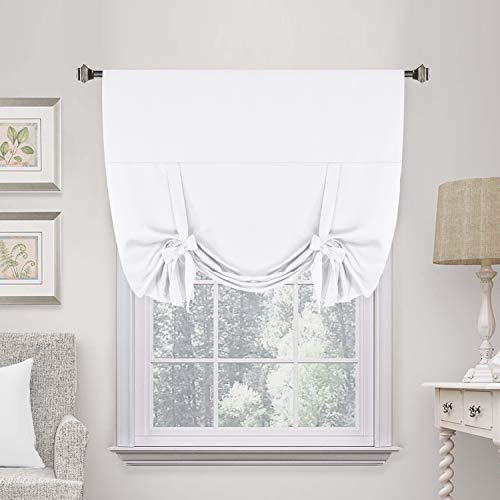 """H.Versailtex Premier Thermal Insulated Curtain Light Reducing Draperies Tie Up Window Shade (Rod Pocket Panel) - 42"""" Wide by 63"""" Long - Pure White"""