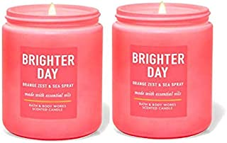 Bath and Body Works 2 Piece Pack Brighter Day Orange Zest & Sea Spray (7oz/ 198g) Single Wick Scented Candle