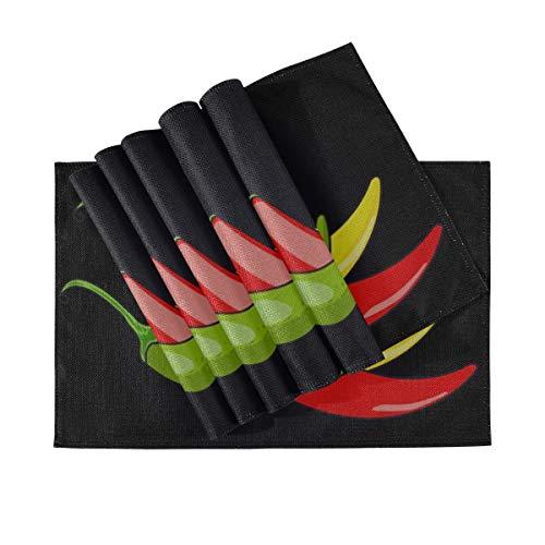 DUKAI Manteles Individuales Juego de 6 para la Mesa de Comedor Chile Pimiento Verde Amarillo Rojo Vector Manteles Manteles Lavables para la Mesa de la Cocina 12 X 18 Pulgadas