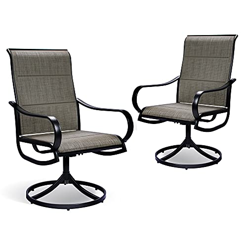 Bigroof Padded Textilene Outdoor Patio Swivel Sling Dining Chairs with Armrest Metal Frame (Set of 2)
