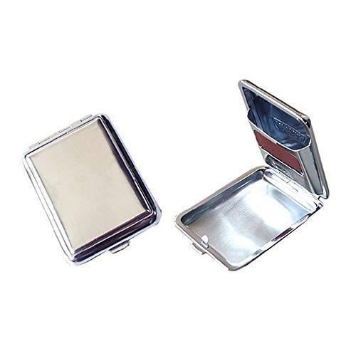 TWWINKKLE Streichholzschachteln aus Edelstahl mit Reibplatte, Wiederverwendbare Streichholzschachtel mit einem Knopf, langlebiges Mini-Metallbox-Retro-Nostalgie-Geschenk