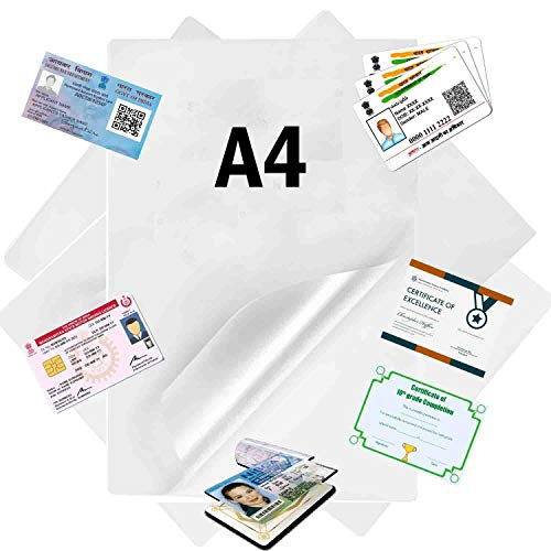 GreatDio® (80 Micron) Laminating Pouch Film (A4 Size) Pack of 100 pcs Clear Transparent Laminating Pouch Film (Waterproof)