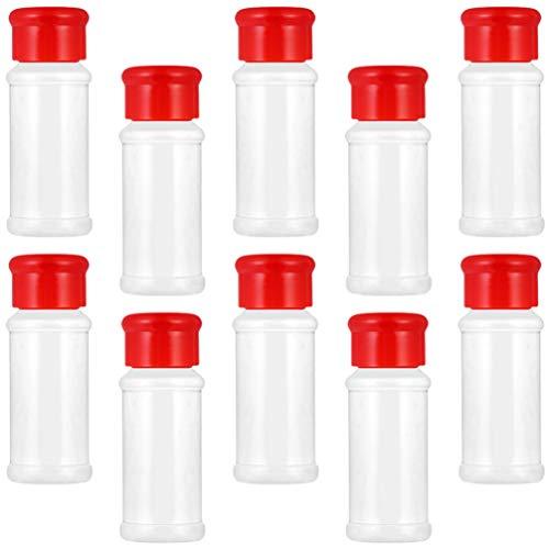 Lurrose 20 Unidades de Frascos de Especias de Plástico Botellas de Condimentos Vacíos con Tapa Roja para El Condimento Especias Hierbas en Polvo Sal Y Pimienta