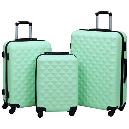 Lechnical Práctica Maleta de Viaje de 3 Piezas, Juego de 3 Piezas de Maleta rígida ABS Verde Menta, con Bloqueo de Seguridad y poleas