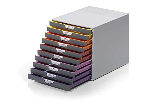 Durable 761027 A4 Schubladenbox (Varicolor 10 Fächer, mit Etiketten zur Beschriftung) mehrfarbig