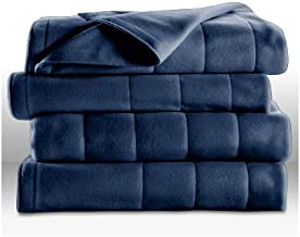 Sunbeam Heated Electric Blanket Quilted Fleece Royal Dreams Newport Blue King