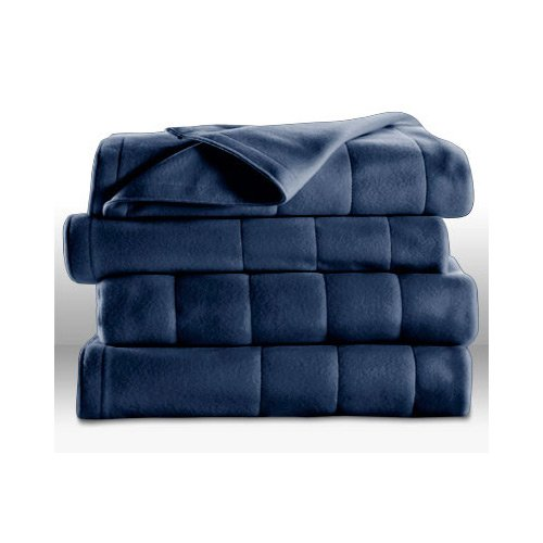 Sunbeam Heated Electric Blanket Quilted Fleece Royal Dreams Newport Blue King Washable Auto Shut Off 10 Heat Settings