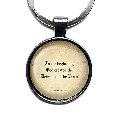 Genesis 1:1 God Created the Heaven and Earth King James Version KJV Bible Silver Keychain Keyring