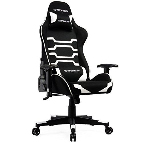 GTFORCE EVO CT - Gaming-Stuhl für E-Sport und Rennspiele - PC-Stuhl für das Büro - Liegepositionen - Stoff - Weiß