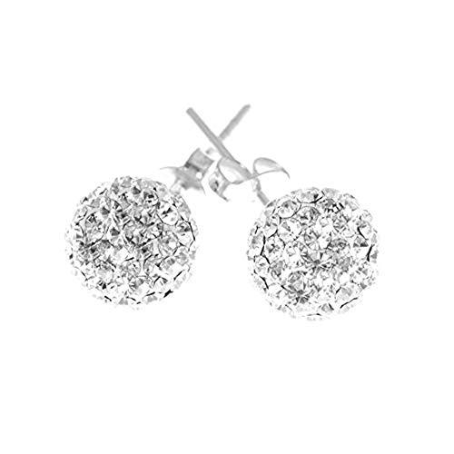 Decorum Jewellery Sterling Silver 925 8mm Swarovski Crystal Ball Stud Earrings.