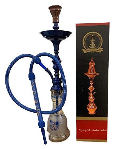 Khalil Mamoon - Pipas de shisha con todos los accesorios, 63,5 cm - 65 cm con cuerpo azul y tubo azul