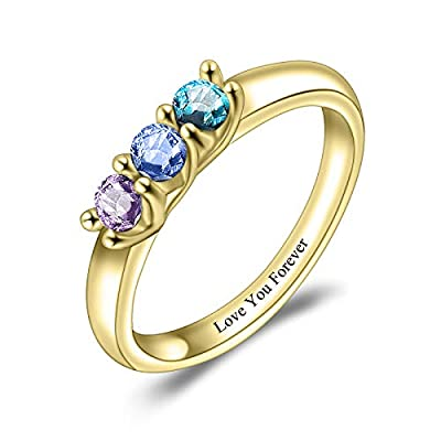 Alonzo Personalized S925 Birthstone Ring with 3 Birthstones Customized Name Ring & Build Your Own Love for Her Mother Family Promise Ring (Gold)
