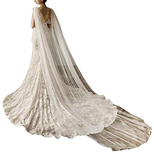 JHD Frauen Tüll Kathedrale bodenlangen Hochzeit Umhänge Schulter Nachahmung Kristallschmuck Blumenapplikationen Braut Lange Wraps Umhang