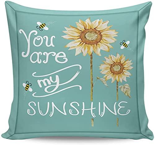 You are My Sunshine - Fundas de cojín cuadradas suaves y acogedoras para coche, sofá, cama, salón, decoración al aire libre, 45,7 x 45,7 cm, diseño de girasoles, verde azulado