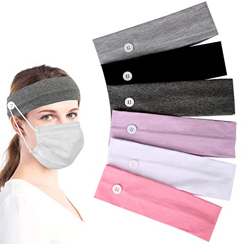 6Pcs Headband with Buttons for Face Mask Headband Non-slip Headbands for Mask with Buttons Headbands for Women Nurses Men