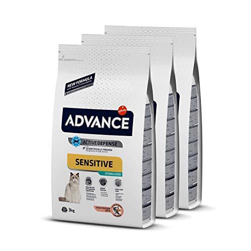 ADVANCE Sensitive Sterilized - Pienso Para Gatos Esterilizados Con Sensibilidades Digestivas - Pack De 3 x 3kg - Total 9 Kg 🔥