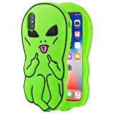 Artbling Case for iPhone Xs Max 6.5' Silicone 3D Cartoon Animal Cover,Kids Girls Boys Cool Cute Gost Cases,Kawaii Soft Gel Rubber Unique Fun Character Funny Protector for iPhone XsMax (Green Alien)