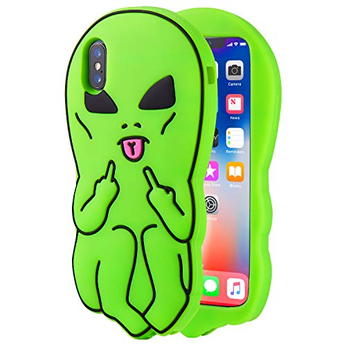 Artbling Case for iPhone XR 6.1' Silicone 3D Cartoon Animal Cover,Kids Girls Boys Cool Cute Gost Cases,Kawaii Soft Gel Rubber Unique Fun Character Fashion Funny Protector for iPhoneXR (Green Alien)