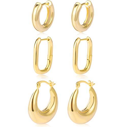 Small Gold Chunky Hoop Earrings for Women Dainty Stylish Hypoallergenic 14k Gold Plated Mini Huggie Cartilage Stud Earrings for Teen Girls