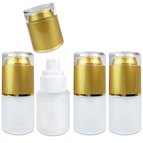 4 Pcs Frosted Glass Spray Bottle with Fine Mist Sprayer and Cap for Travel Perfume, Cologne, Essential Oils or Alcohol and Other Liquids (4 Bottles, Gold (20 ML))
