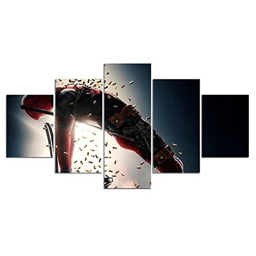Cuadros Decoracion Salon De La Pared Cartel de película TV 5 Paneles Decoración para El Hogar Mural Pintura Moderna Arte Carteles Paisaje Sala De Estar con Marco(200x100cm)