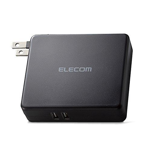 エレコム モバイルバッテリー AC一体型 5800mAh USB×2ポート 2.4A 【 iPhone&iPad&android&IQOS&glo 対応】 ブラック DE-AC01-N5824BK