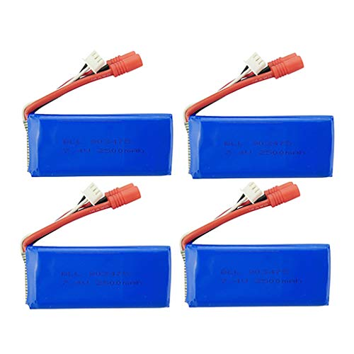 Pstars 4PCS 7.4V 2500mAh 25C Lipo Battery for Syma X8C X8W X8G X8HC X8HG X8HW RC Drone Large Capacity Lithium Battery