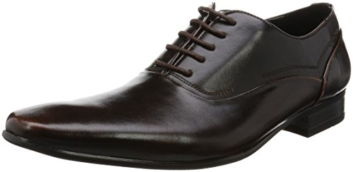 MM/ONE Oxford Men's shoes Dress shoes Lace-up Plain toe Dark Brown ,40 EU (US Men's 8 M)