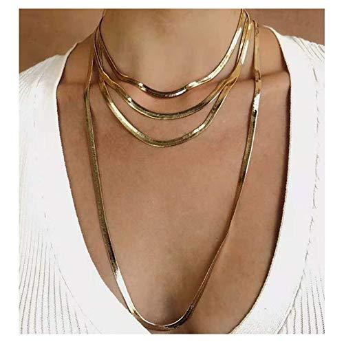 MIANBAO Collar de Cadena de Serpiente Multicapa a la Moda para Mujer, Collar de suéter de Color Dorado Vintage, Regalo de joyería de Fiesta