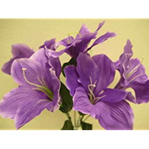 Purple Amaryllis Artificial Flowers Greens Leaves