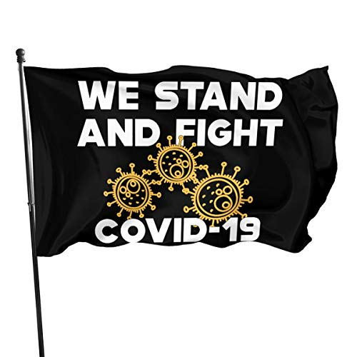 Mrscsefid COVID - 19 We Stand and Fight Novel Coron-avirus Flag 3 X 5 Flag for Yard Decoration Banner