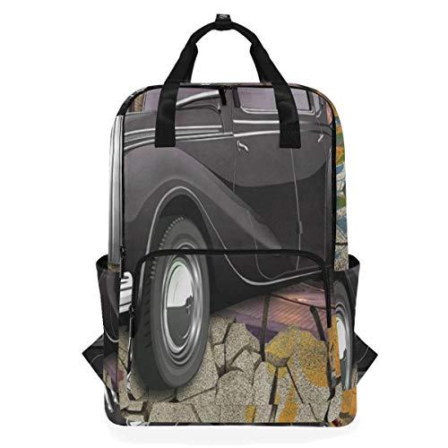 NR Lässiger Laptop Rucksack passt 15 Zoll Computer Notebook Rucksack große College-Schultaschen,3D EIN klassisches Auto, das von defekter Graffinti-Wand herausspr,Reisen/Business/Frauen/Jungen