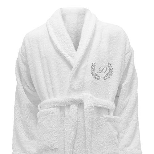 HOTEL Edition dorado/plata personalizado blanco albornoz, 100% algodón, Embroidery Silver, Medium